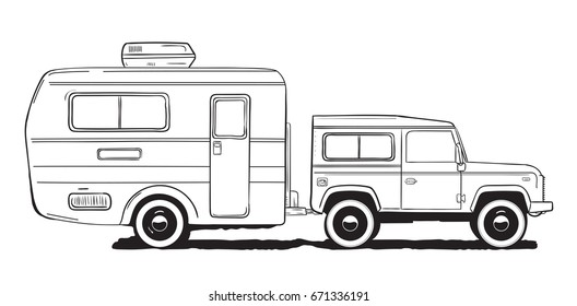 Camping caravan. Motorhome, camper car with trailer. Black and white hand drawn illustration.
