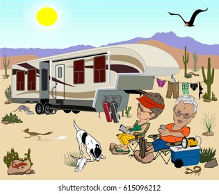 Camping cartoon with a large fifth wheel in the desert, an older couple relaxing in lawn chairs with lots of desert animals, cacti, and clothes hanging on a clothesline in the background.