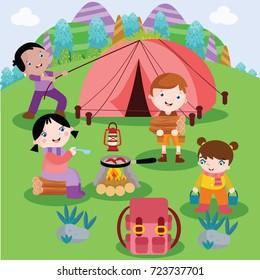 Camping Cartoon Vector Illustration
