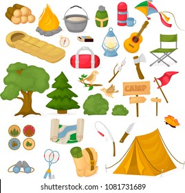 Camping children summer camp park vector illustration fun childhood campfire nature outdoor leisure. Kid mountain hiking tourism picnic expedition. Happy vacation activity and camping equipment.