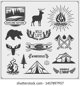 Camping club emblems and design elements with forest animals and equipment. Forest camping, outdoor adventure, wanderlust. Print design for camp t-shirt.