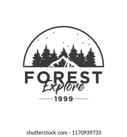Camping Concept Logo Desig Template with Badges, Black and White