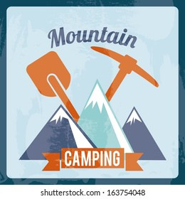 camping design over blue background vector illustration