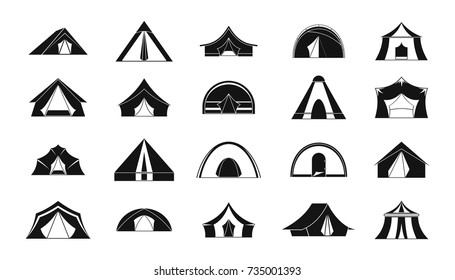 Camping dome or tent icon set. Simple set of camping dome or tent vector icons for web design isolated on white background