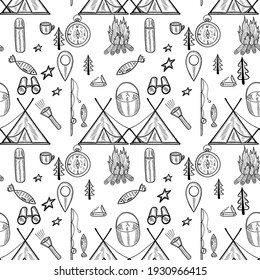 Camping doodle seamless pattern. Set of doodle forest camping design elements. Hand drawn vector illustration, isolated. Set of tourism equipment, engraved  in sketch.