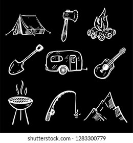 Camping Doodles collection vector set illustration isolated on white background. Vector illustration.