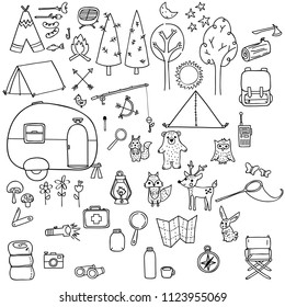 Camping Doodles hand drawn Illustration Black and White