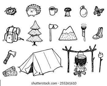 Camping Doodles - Vector