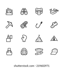 camping element vector black icon set on white background