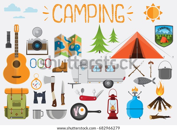 Camping Elements Set Camping Objects Tent Stock Vector
