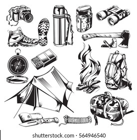 Camping elements set with touristic accessories and equipment in hand drawn style isolated vector illustration