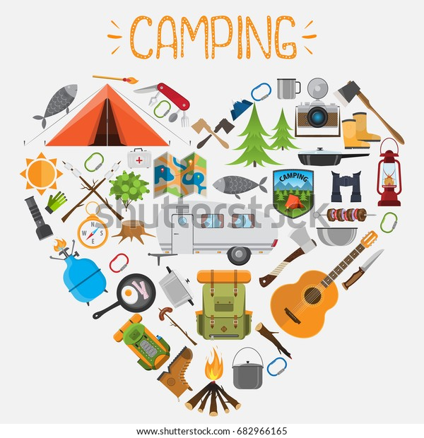 Camping Elements Shape Heart Set Camping Stock Vector