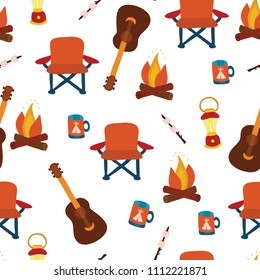 "Camping equipment - folding chair, marshmallows, lantern,camp fire, mug, and guitar on a white background - seamless vector pattern. Part of my ""Let's go glamping!"" collection."