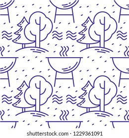 """Camping equipment - folding chair, marshmallows, lantern,camp fire, mug, and guitar on a white background - seamless vector pattern. Part of my """"Let's go glamping!"""" collection."""