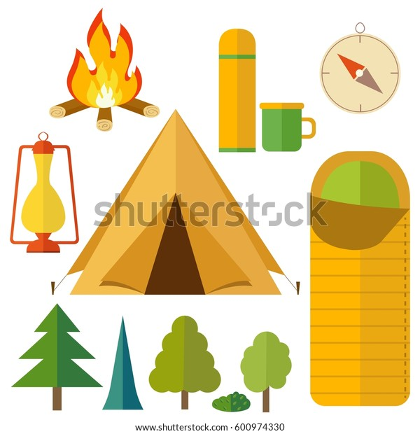 Camping equipment icon set. Campfire, tree, camping tent, thermos, lantern, sleeping bag, compass. Tourist camp tools collection.