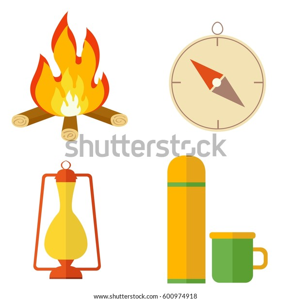 Camping equipment icon set. Campfire, thermos, lantern,  compass. Tourist camp tools collection.