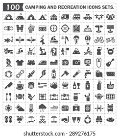 Camping equipment and off-road vector icons sets.