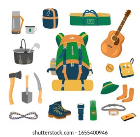 Camping equipment set. Backpack, tent, sleeping bag, thermos, utensils,  tools, rope, hiking boots, flashlight, mosquito repellent, headlamp, matches, compass, socks, hat, first aid kit, guitar. Vector