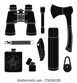 Camping equipment silhouettes set. Vector black clip art isolated on white