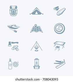 Camping equipment and tools gray icon-set