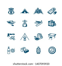 Camping equipment and tools micro blue icon-set