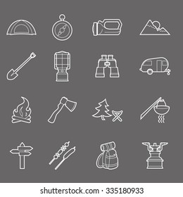 Camping equipment and travel icons set - campsite