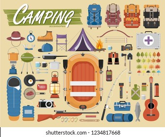 Camping equipment vector collection. . Base camp gear and accessories. Camping icon set. Hiking icons set.