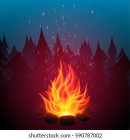 Camping fire background. Bonfire in the night forest. Bright marching fire with sparks. Summer campfire. Vector illustration