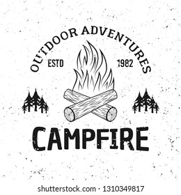 Camping fire vector vintage monochrome emblem, label, badge or logo isolated on white background