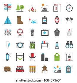 Camping flat icon set, business concept, isolated on white background