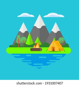 camping flat illustration of vector graphic