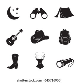 Camping, folk, country icon set isolated on white background.Vector art.