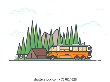 Camping in forest. Tent with fire and pot with food. Big six wheels caravan or camper motorhome. Family road trip concept. Traveling on vehicle and nature adventure. Line vector. Camping on wheels.