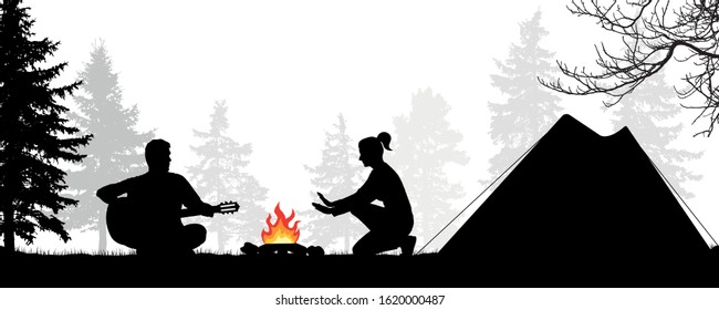 Camping in the forest with a tent. Young couple by the fire. Man plays the guitar. Girl warms her hands by the fire. Romantic evening. Silhouette vector illustration