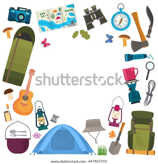 Camping frame. Traveling  theme . Vector flat style .