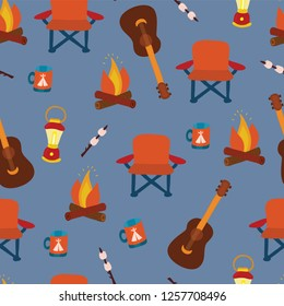 Camping gadgets seamless vector pattern background. Outdoor equipment. Folding chair, marshmallow, lantern, camp fire, mug, and guitar on blue. Illustration for fabric, poster, paper, summer camp