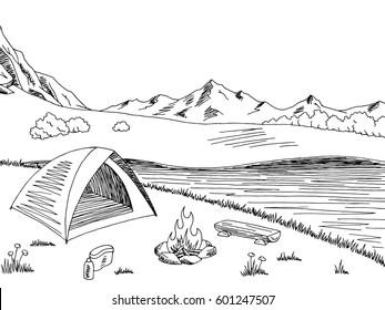 Camping graphic black white mountain landscape sketch illustration vector