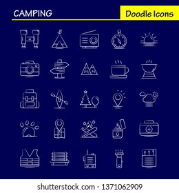 Camping Hand Drawn Icons Set For Infographics, Mobile UX/UI Kit And Print Design. Include: Cloud, Sun, Weather, Tea, Cup, Coffee, Hot, Box, Icon Set - Vector
