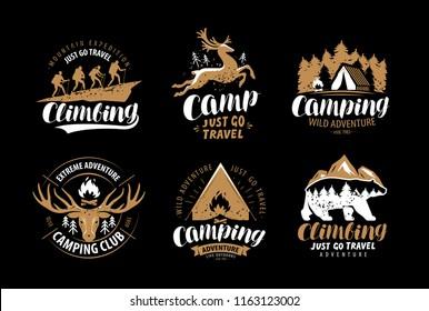 Camping, hike logo or emblem. Hiking trip, climbing label set. Vintage vector