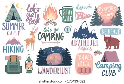 Camping, Hiking, Adventure letterings. Wild animals, fireplace, mountains, tents and other elements. Flat Vector illustration. - Shutterstock ID 1734334322