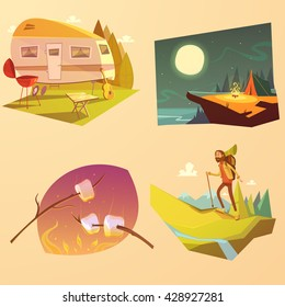 Camping and hiking cartoon set with trailer tent and fire isolated vector illustration