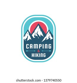 Camping & hiking - concept badge. Mountain climbing logo in flat style. Extreme exploration sticker symbol. Adventure outdoors creative vector illustration. Graphic design element.