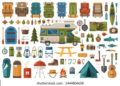 Camping and hiking elements. Forest hike icon set. Camp gear backpacker collection including tourist tent, RV camper, rafting boat and other camping equipment. Wanderlust scout adventure icons.