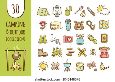 Camping and hiking equipment icons. Collection of 30 forest and camping elements in hand drawn style. Vector isolated on white background.