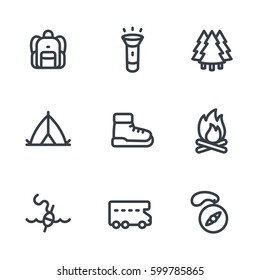 Camping, hiking icons set in linear style on white