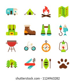 Camping Hiking Objects. Vector Illustration. Summer Collection of Items Isolated over White.