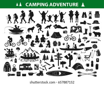 camping hiking silhouette collection set. people trekking, navigating, sitting at campfire tent, kayaking, rafting, fishing, mountain biking. Campsite gear, equipment, accessories, supply, object