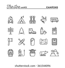 Camping, hiking, wilderness, adventure and more, thin line icons set, vector illustration