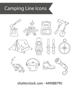 Camping holiday vector line icons. Thin liner vector icons - wood, fire, kerosene lamp, lantern, tent, knife, backpack, fishing, compass and shoes.