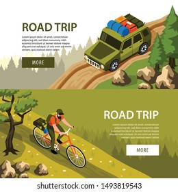 Camping horizontal banners set with man riding bicycle and tourist car on road in forest 3d isometric isolated vector illustration